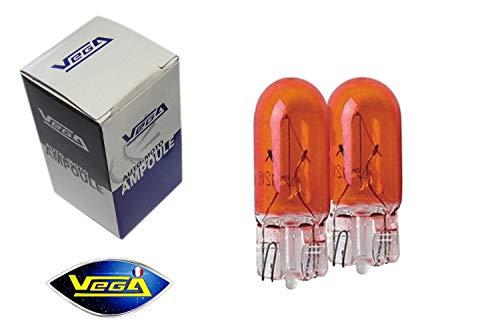 2 ampoules Vega® clignotants WY5W W5W T10 teinté masse orange 12V