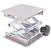 Kalolary Laboratorio Científico Jack-100 x 100 mm de acero inoxidable Lab soporte de mesa rack de tijera Lab-levantador de experimento científico
