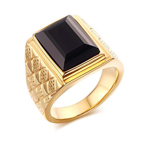 Heyrock Men Square Stone Wedding Bands Rhombus Design Engagement Promise Ring Jewelry (Black Stone,57)