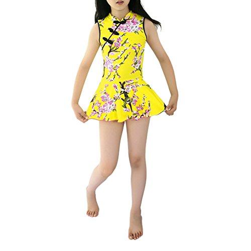 Aus Kleidern Kostüm Alten - Hougood Mädchen Badeanzug Schwimmen Kostüme Kinder einteilig Cheongsam Bademode Gedruckt Badeanzug mit Rock Baby Vintage Schwimmen Kleid Alter 7-12