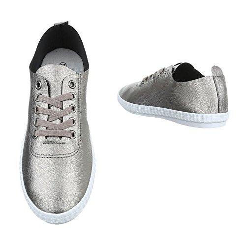 Ital-Design Sportschuhe Damenschuhe Geschlossen Sneakers Schnürsenkel Freizeitschuhe Silber Bronze