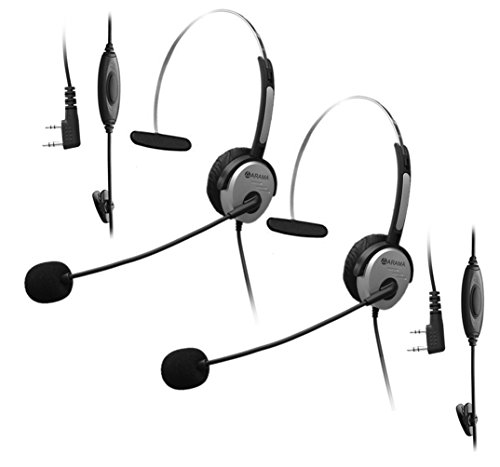 arama-b380k01-overhead-earpiece-headset-with-adjustable-band-ptt-boom-mic-noise-cancelling-for-2-pin