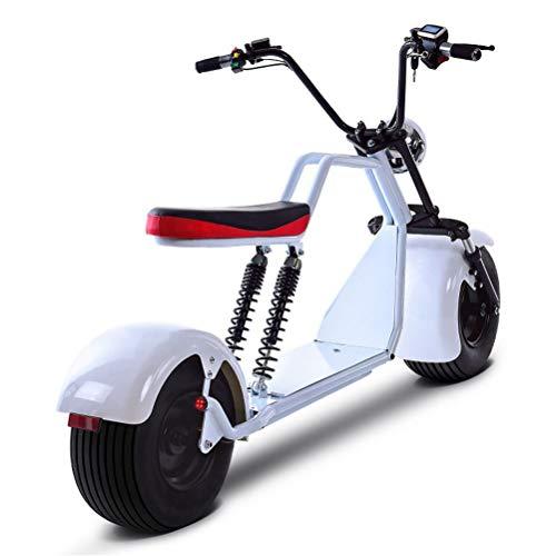 DOS Moto Electrica Scooter Ciclomotor Electrico de 1500w bateria 60v 20Ah Patinete Bici,White
