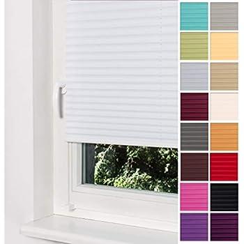 9443655c83fe54 Home-Vision Plissee Faltrollo ohne Bohren mit Klemmträger / -fix (Weiß,  B25cm x H100cm) Blickdicht Sonnenschutz Jalousie für Fenster & Tür