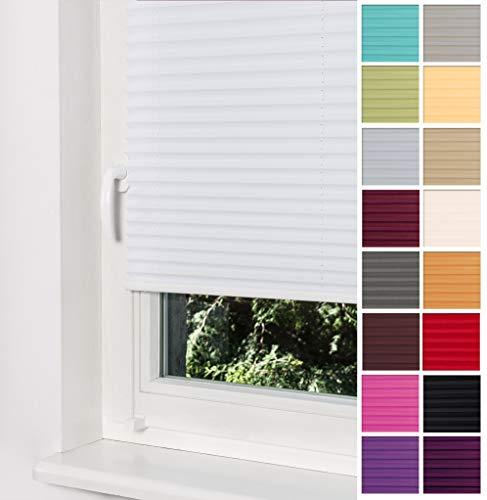 Home-Vision Premium Plissee Faltrollo ohne Bohren mit Klemmträger / -fix (Weiß, B55cm x H200cm) Blickdicht Sonnenschutz Jalousie für Fenster & Tür