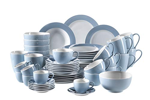 Mäser, Serie Kitchen Time, Kombiservice 54-teilig, Geschirrset für 6 Personen, alle Teller und Kaffeetassen in der Farbe Blau