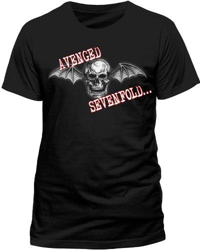 Avenged Sevenfold Herren T-Shirt Bat Skull Glow Nero (Black)