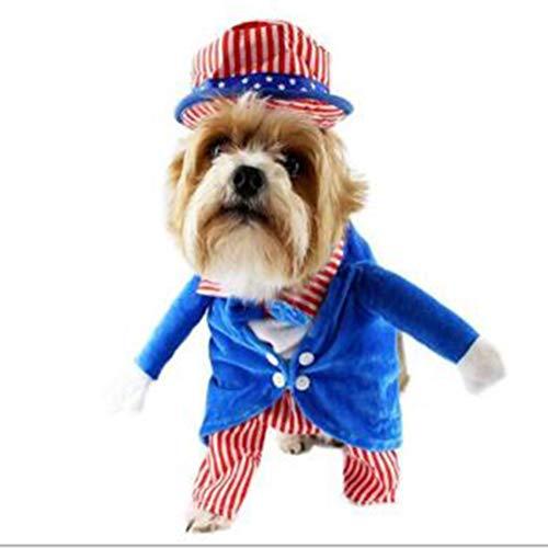 Stehend Hunde Kostüm - Hotumn Pet Onkel Sam Kostüm Hund stehend Bekleidung 4. Juli Unabhängigkeit Tag mit Hut Patriotisches Kostüm für Hunde, L, blau