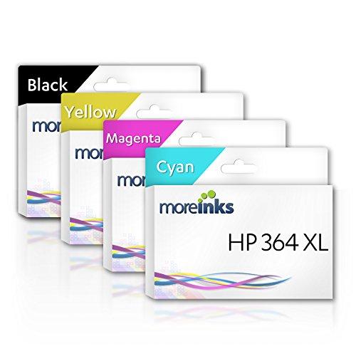 4 Moreinks Cartouches d'encre compatibles à remplacer HP 364XL Cyan / Magenta / Jaune / Noir pour HP Photosmart B110 B110A Wireless B109n B109A Plus CN216B B209A CN245B Premium C309a C309C C309g C5380 PRO B8558 B110C B110F B209C D5460 Fax B209B B110E C6300 C5390 C6350 C6380 C5383 D5400 C6324 6510 7510 5510 B010a 5515 5520 5524 6520 7520 5512 5514 5522 5525 6525 B109C B109D B109F B109Q B110B eStation C510 B210 B210B B210E C310 C410b C5324 B8550 D5463 B209N C5300 & plus d'Imprimantes