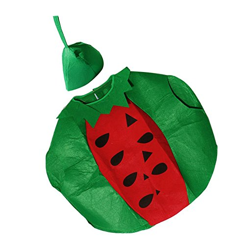 Queta Wassermelone Anzug Fruit Anzug Erwachsene Funny Hat mit Fancy Kleid Wassermelone Kostüm Party Halloween-Kostüm (Fett Halloween Kostüm)