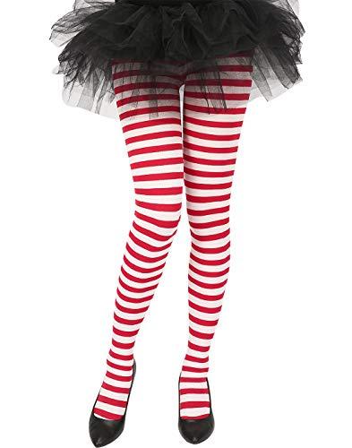 HDE Damen gestreifte Strumpfhose, blickdicht, Mikrofaser-Strümpfe, Nylon-Fuß-Strumpfhose - - Large/X-Large (Pin Up Mädchen Kostüm Ideen Zu Halloween)