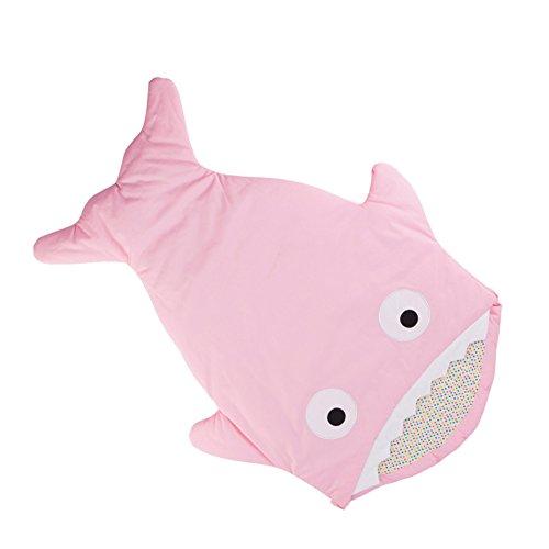 Dorapocket Baby Karikatur Haifisch Bissen Baumwoll Bunting Schlafsack Säuglingssäcke Swaddling Decke Fußbindende Steppdecke,Rosa (Großen Sherpa-fleece T-shirt)