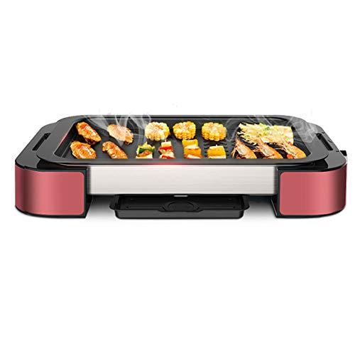 Elektrogrill • Halogengrill • Grill • Tischgrill • Drehbare Grillpfanne • Auffangbehälter • Teflonbeschichtung • Einfache Reinigung (1000 Watt, 220 V),Red