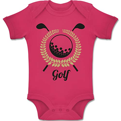 Sport Baby - Lorbeerkanz Golfschläger Golfball - 3-6 Monate - Fuchsia - BZ10 - Baby Body Kurzarm Jungen Mädchen