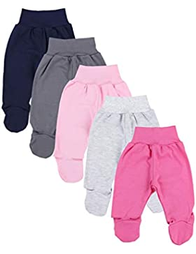 TupTam Unisex Baby Hose mit Fuß Bunte Strampelhose 5er Pack