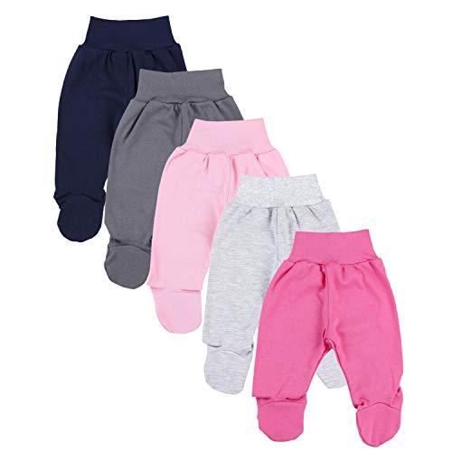 TupTam Unisex Baby Hose mit Fuß Bunte Strampelhose 5er Pack, Farbe: Mädchen 5, Größe: 62