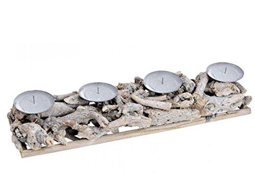 Adventsgesteck Adventskranz aus Holz Grau mit Teelichthalter zum selber dekorieren B48xT12xH8cm