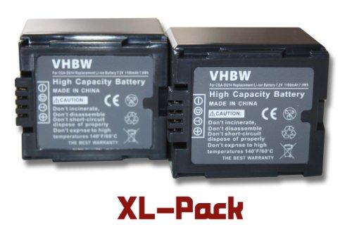 Gs500 Camcorder (2 x vhbw Akku Set 1100mAh für Camcorder Kamera Panasonic NV-GS400, NV-GS500, PV-GS50, PV-GS50S, PV-GS55, PV-GS70, PV-GS120, PV-GS200)