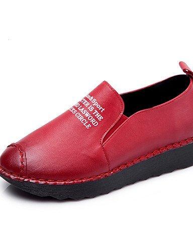 ShangYi gyht Scarpe Donna - Mocassini - Casual - Punta arrotondata - Piatto - Finta pelle - Nero / Rosso Red
