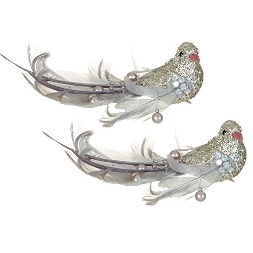 premier-weihnachtsdekoration-16cm-2-pack-clip-auf-vogel-mit-perlen-silber