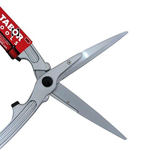 TABOR TOOLS B228 mechanischer Heckenschere, Gartenschere mit antihaftbeschichteten Klingen und aluminium Griffe mit Gummistoßdämpfer. Gerader Klinge für effizienter Flächenschnitt sowie