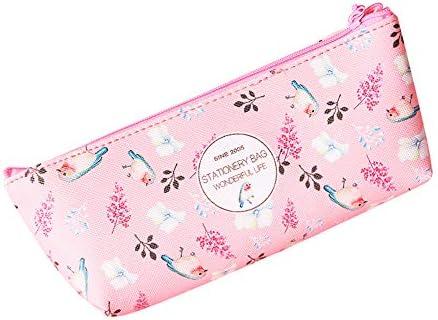 Valianhagen Imprimé floral étudiants Trousse Pochette Fermeture Éclair Boîte cadeau d'articles de papeterie école rose | à L'aise