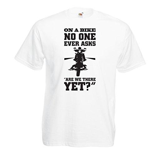N4684 Männer T-Shirt On a Bike - Biker wear (XXXX-Large Weiß Mehrfarben)