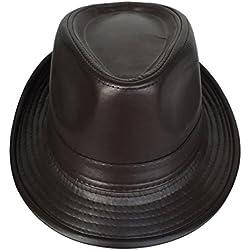 Toyobuy Hombres Jazz Sombrero de cuero del caballero del sombrero Fedora del sombrero flexible Circunferencia de la cabeza: 58cm marrón
