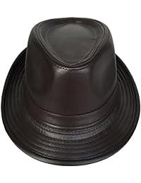 Toyobuy Hombres Jazz Sombrero de cuero del caballero del sombrero Fedora del  sombrero flexible ff1db023751