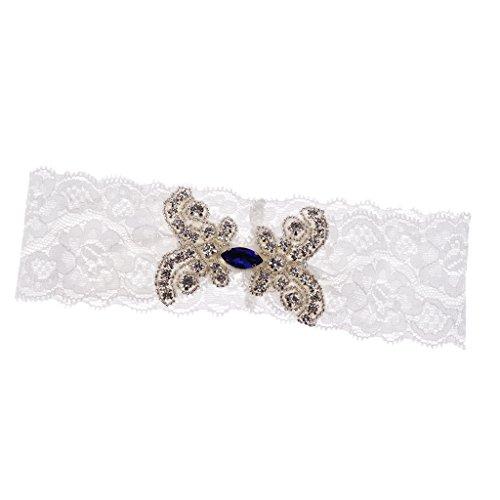 Magideal giarrettiere accessori per abiti da sposa in pizzo con strass di cristallo - blu, come descritto