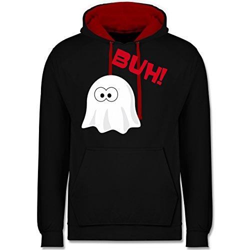 Halloween - Kleiner Geist Buh süß - Kontrast Hoodie Schwarz/Rot