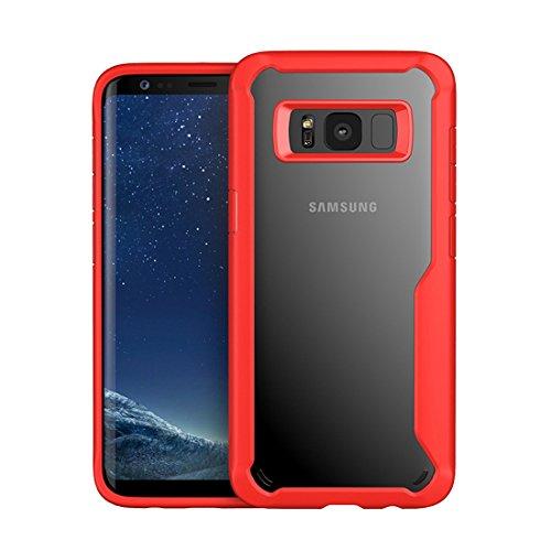 Galaxy S8 Hülle Hybrid Transparent PC Kunststoff mit Rutschfeste TPU Bumper Military Grade Stoßfest Silikon Crystal Clear Cover für Samsung Galaxy S8 (Samsung Galaxy S8, Rot)