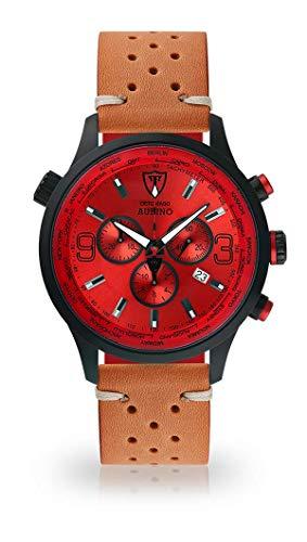 DETOMASO AURINO Montre pour Hommes Chronographe Chronographe Analogique Quartz Marron Racing Bracelet Cuir Vintage Cadran Rouge DT1061-B-844