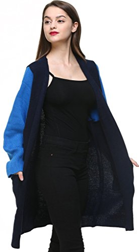 Vogueearth Fashion Femme's Ladies Batwing Manche Knit Longue Sweater Chandail Tricots Open Cardigan Foncé Bleu