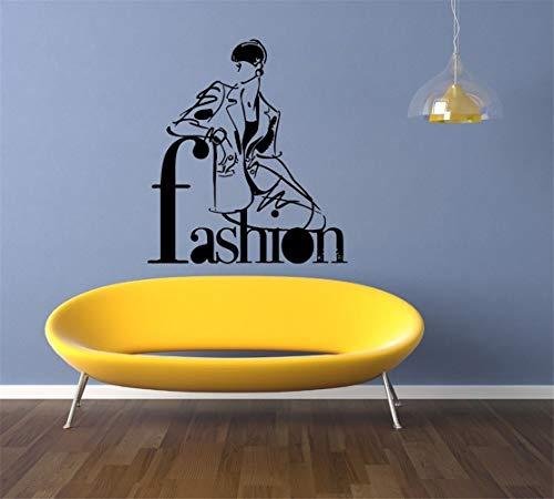 Wandaufkleber Kinderzimmer Mode-Stil Trends Kostüm Salon Friseursalon Beauty-Aufkleber für Mädchen Schlafzimmer (Fisch Stick Kostüm)