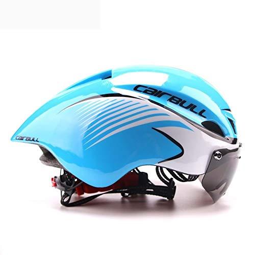 FOOBRTOPOO Fahrradhelm für Herren und Damen, mit Brille, verstellbar, Rennradhelm 03