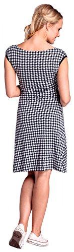 Happy Mama. Femme Maternité robe de grossesse pied-de-poule sans manches. 062p Noir & Blanc