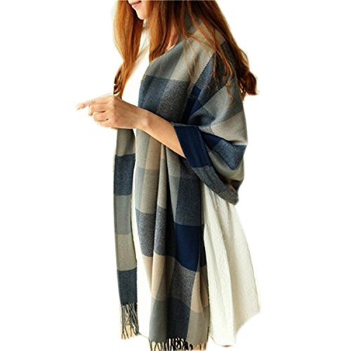 - 41pIJzjE92L - Discountfan Winter Long Soft Warm Tartan Check Scarves Wraps for women Wool Spinning Tassel Shawl Long Stole