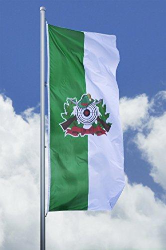 Deitert Schützenfahne mit Schützenlogo - Hissfahne hoch grün-weiß, 120x300cm