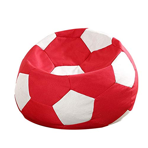 Faule Couch Lazy Bean Bag Sofa, 70 cm Durchmesser Fußball Sofa Sitz Sitzsack, multifunktionale Boden Gaming Sofa Sack Lounge Chair (Farbe : Red and White)