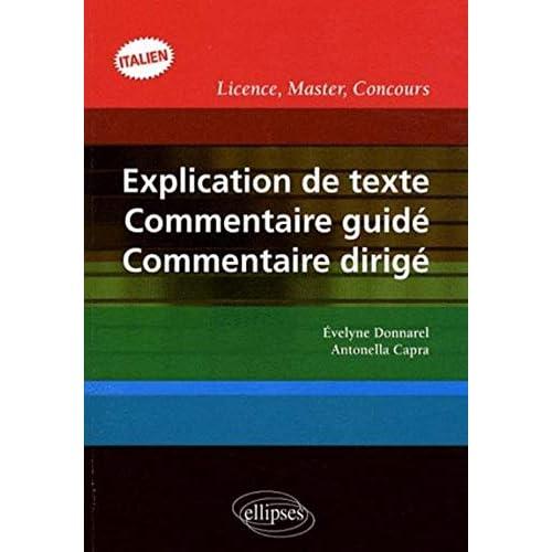 Explication de texte, commentaire guidé, commentaire dirigé en italien