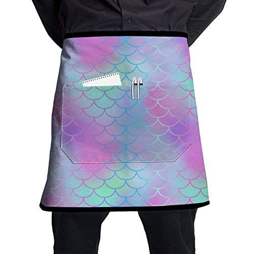 Soft Durable 100% Polyester Waterproof Kitchen Bib Apron Pockets Waist Apron Kitchen Cooking Restaurant Bistro Half Aprons for Men Woman - Colourful Fish Scale Magic Mermaid Tail