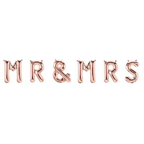 ballonfritz® Luftballon MR & MRS Schriftzug-Set in ROSEGOLD - Folienballons als Hochzeit Geschenk, Party Dekoration oder Überraschung