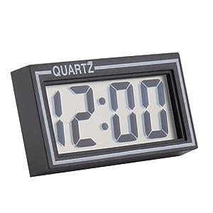 Livecity Digital LCD Bildschirm Tisch Auto Armaturenbrett Schreibtisch-Kalender Datum Zeit Kleine Wanduhr, Polykarbonat, Schwarz, Mini