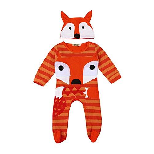 BURFLY Kinderkleidung ♥♥Tiere gedruckt mit einem Paar Jeans + Hut 2 Sätze Anzug, Mädchen Kleidung Tier Druck Set Spielanzug + Hüte (6-24 Monate) (90, Orange) (Baumwollsamt Gedruckt)