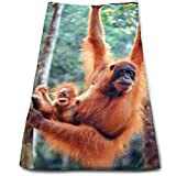 best& Orangutan and Baby Waving Monkey Multi-Purpose Microfiber Towel Ultra Compact Super Absorbent and Fast Drying Sports Towel Travel Towel Beach Towel Perfect for Camping, Gym, Swimming.