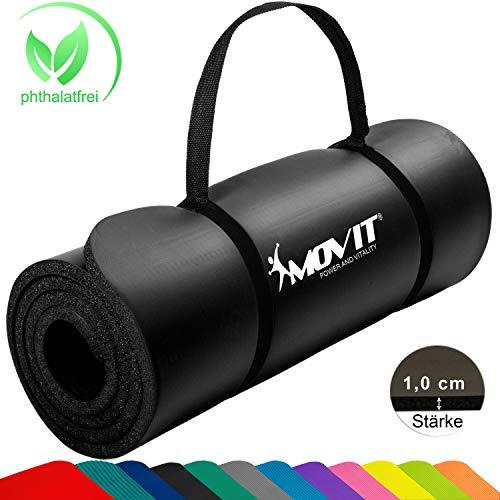 MOVIT Pilates Gymnastikmatte, Yogamatte, phthalatfrei, SGS geprüft, 183 x 60 x 1,0cm, in Schwarz