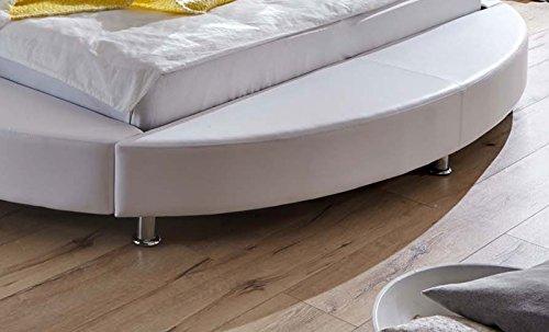 SAM Design Rundbett 180×200 cm Bastia, weiß/grau, Kopfteil abgesteppt, mit Chromfüßen, als Wasserbett verwendbar