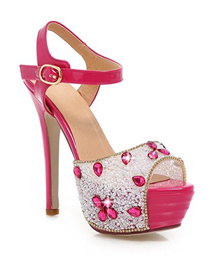 YE Frauen Peeptoes 13 cm Heels High Heel Plateau Stiletto Knoechelriemchen Party Elegante Pumps Mit Pailletten Sommer Glitzer Hochzeit Sandalen Schuhe Rosa