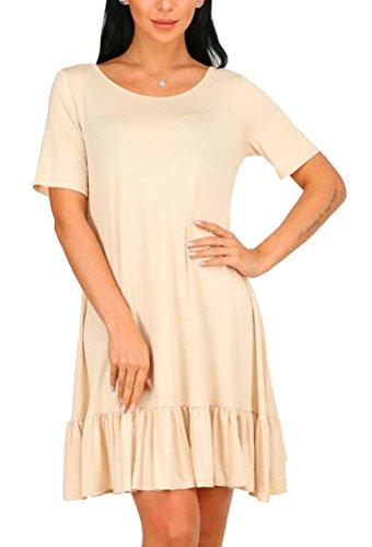 Brinny Damen Sommerkleider Kurzarm Casual T Shirt Kleid Rundhals Knielang Stretch beiläufiges Kurzarm Rundhals Sommerkleid Beige